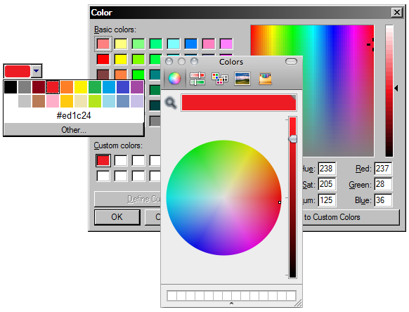 Renderização do Opera do campo type=color em múltiplas plataformas