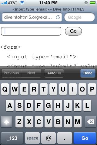 Renderização do iPhone do campo type=email