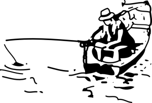 man fishing in a canoe